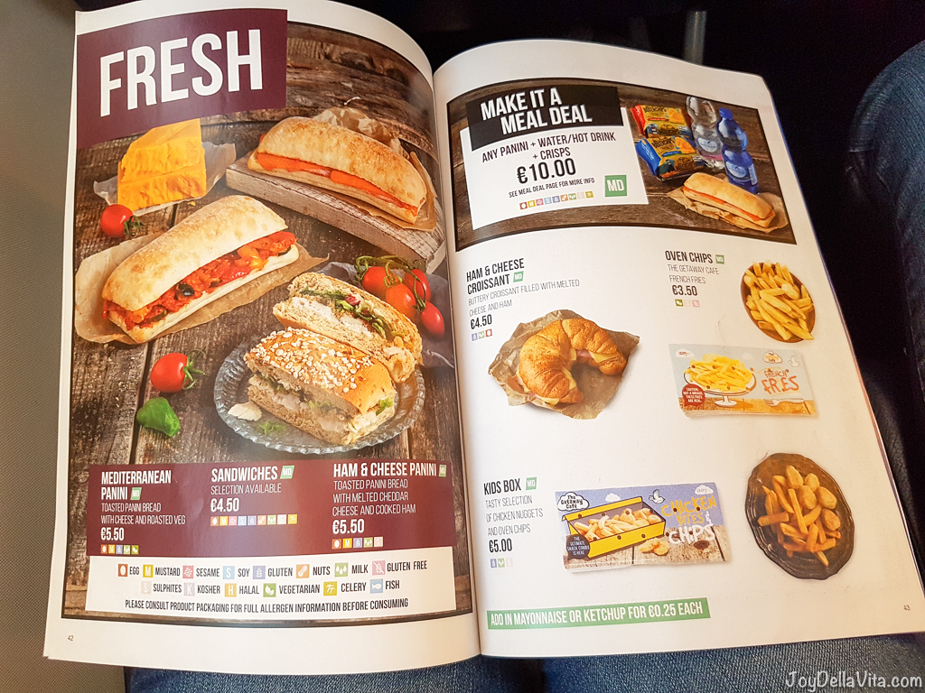 RyanAir In-Flight Menu 2017 Prices On Board Food & Drinks